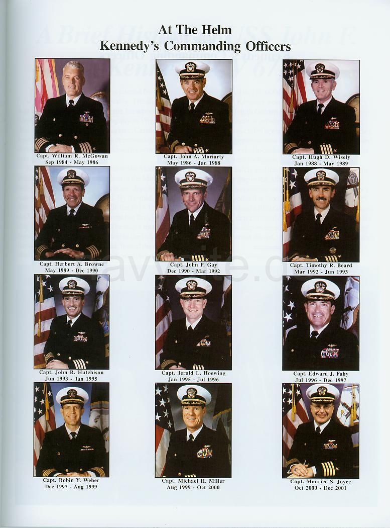 3d6bb3417145 USS John F. Kennedy (CV 67) Decommissioning Pamphlet - List of KENNEDY  Commanding Officers